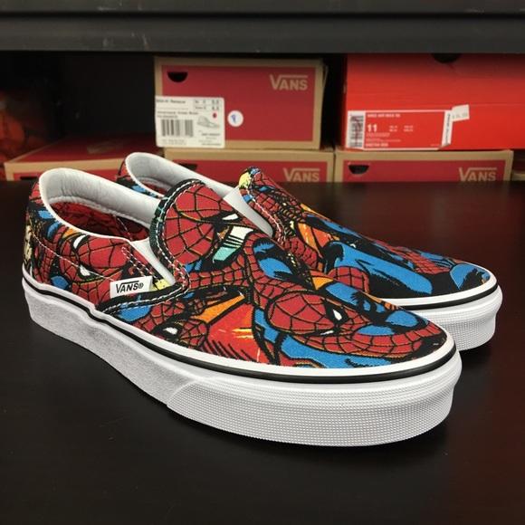 fbf3a1e0dc Vans Slip On Marvel Spider Man Black Red Women s